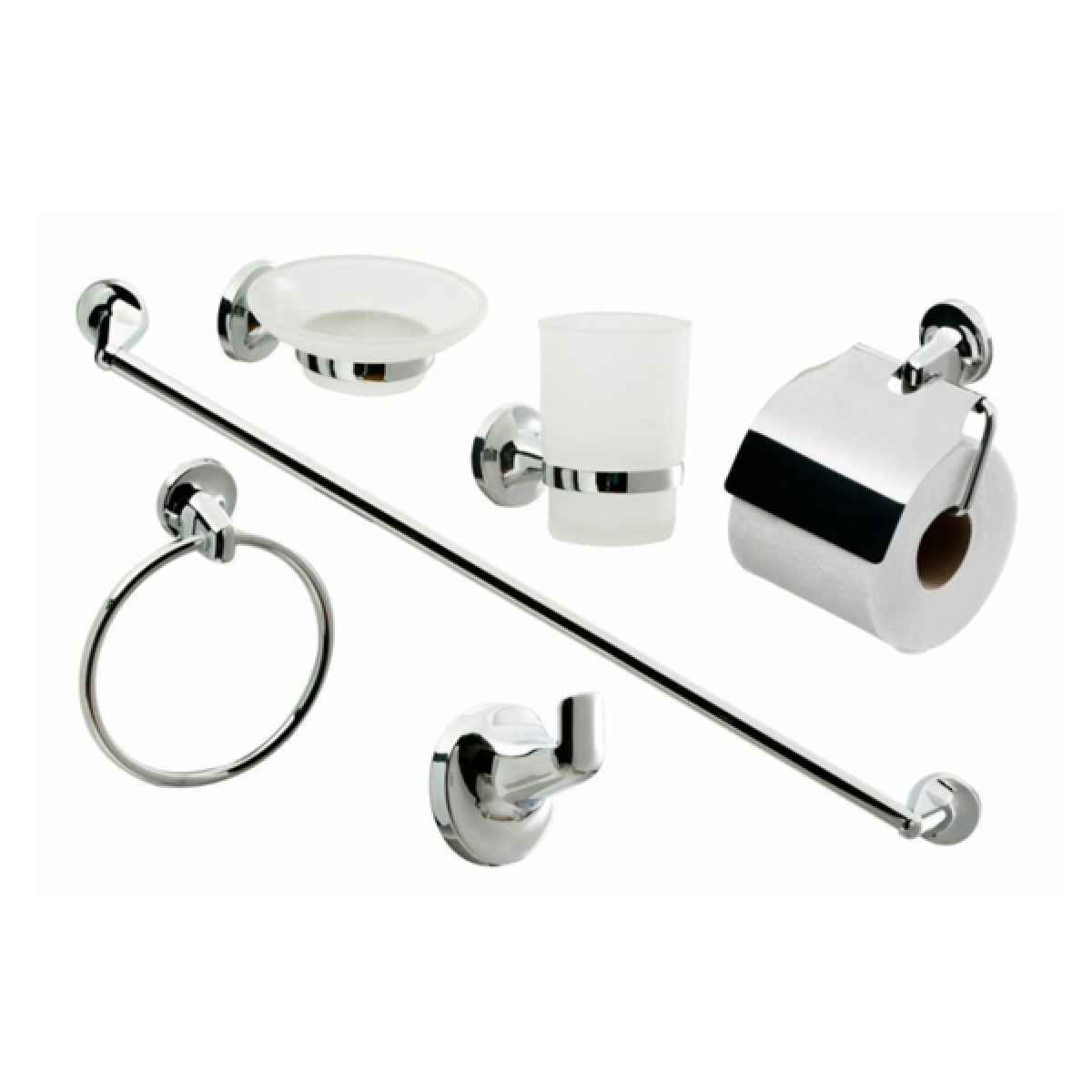 Modern Wall Mounted Square Toilet Roll Holder Chrome UK Bathroom Accessory