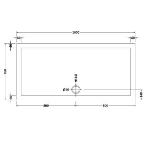 1600 x 760 Shower Tray Rectangular Low Profile by Pearlstone Dimensions