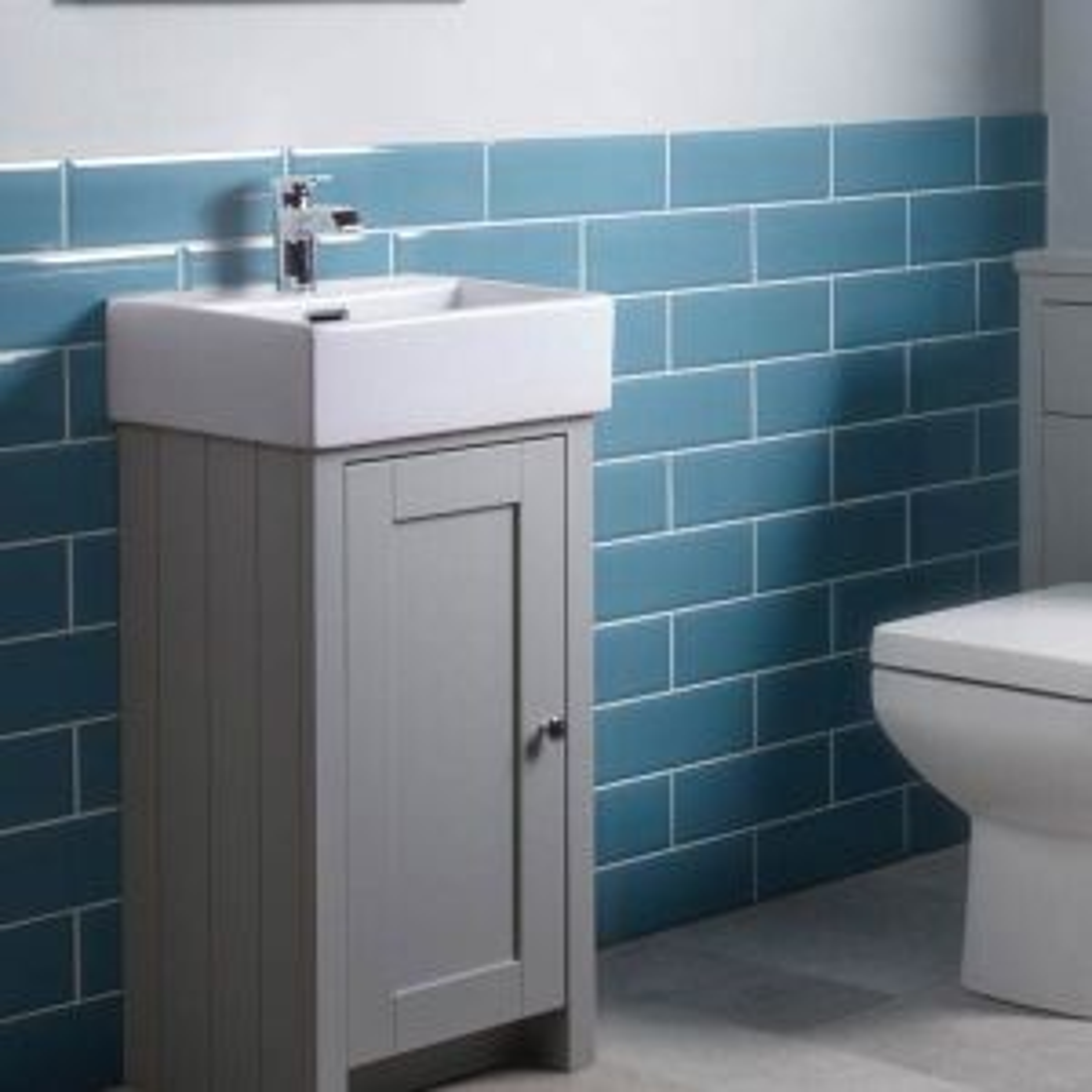 Tavistock Lansdown Pebble Grey Freestanding Cloakroom Unit Lifestyle