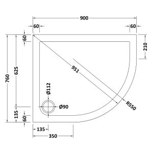 900 x 760 Shower Tray Offset Quadrant Low Profile Right Hand by Pearlstone Line Drawing