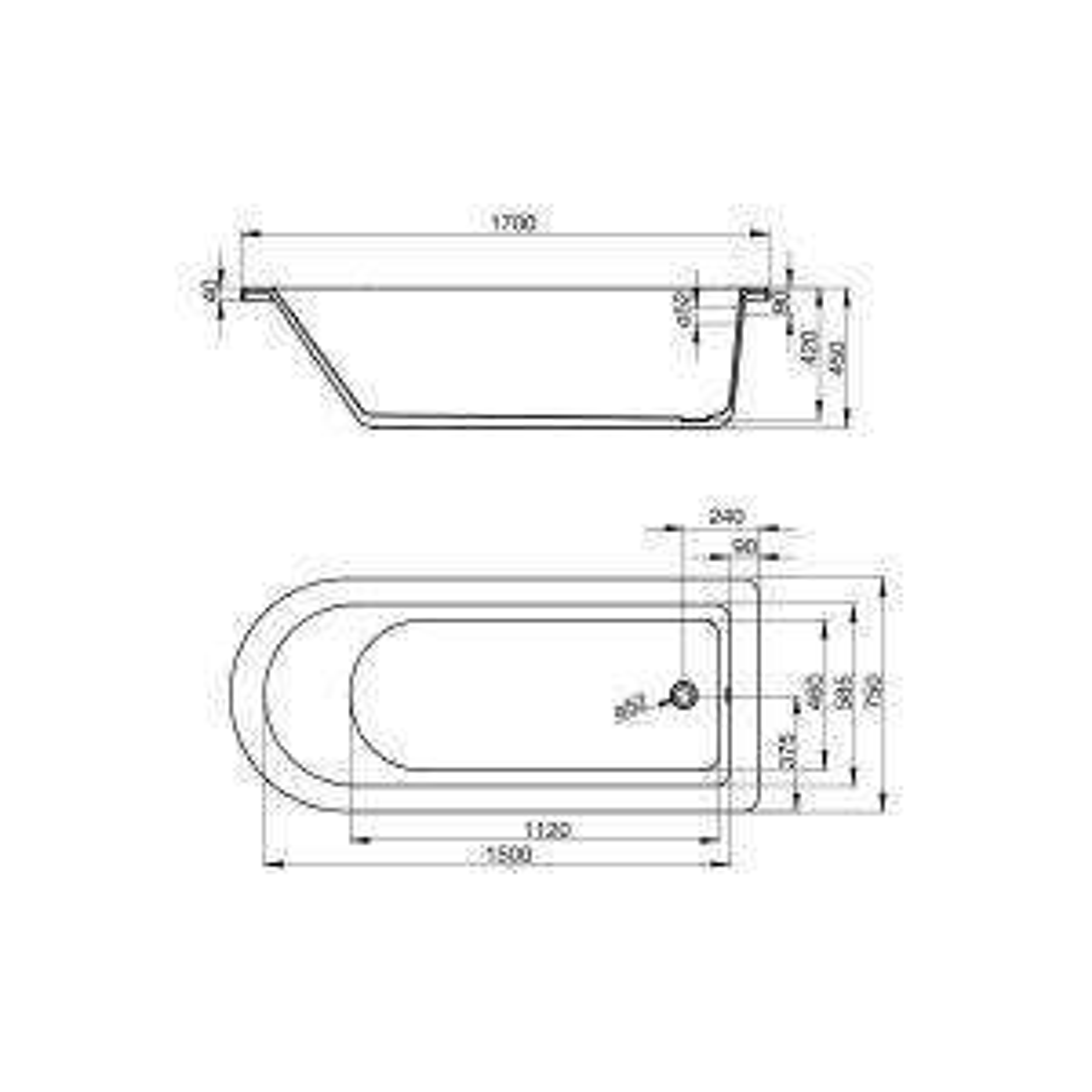 April Bentham Dove Grey Single Ended Freestanding Bath 1700mm Dimensions