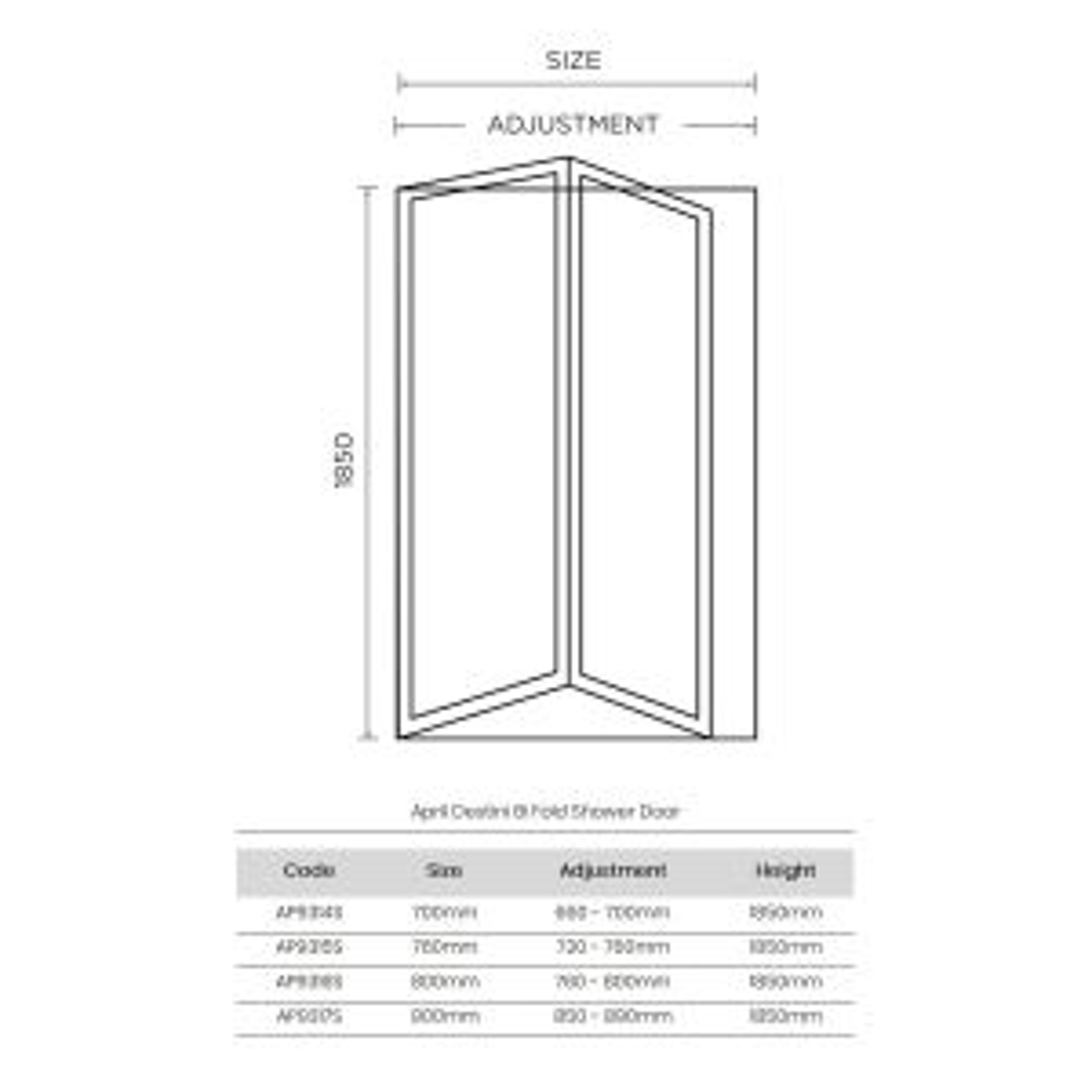 April Destini Bifold Shower Door with Optional Side Panel Dimensions