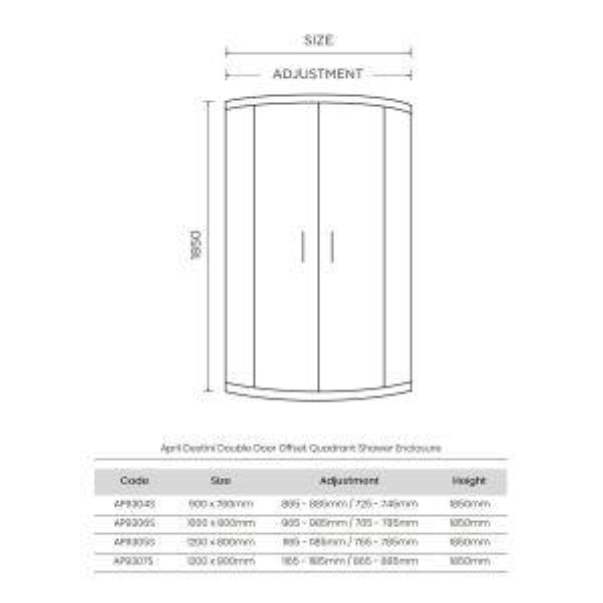 April Destini Double Door Offset Quadrant Shower Enclosure Dimensions