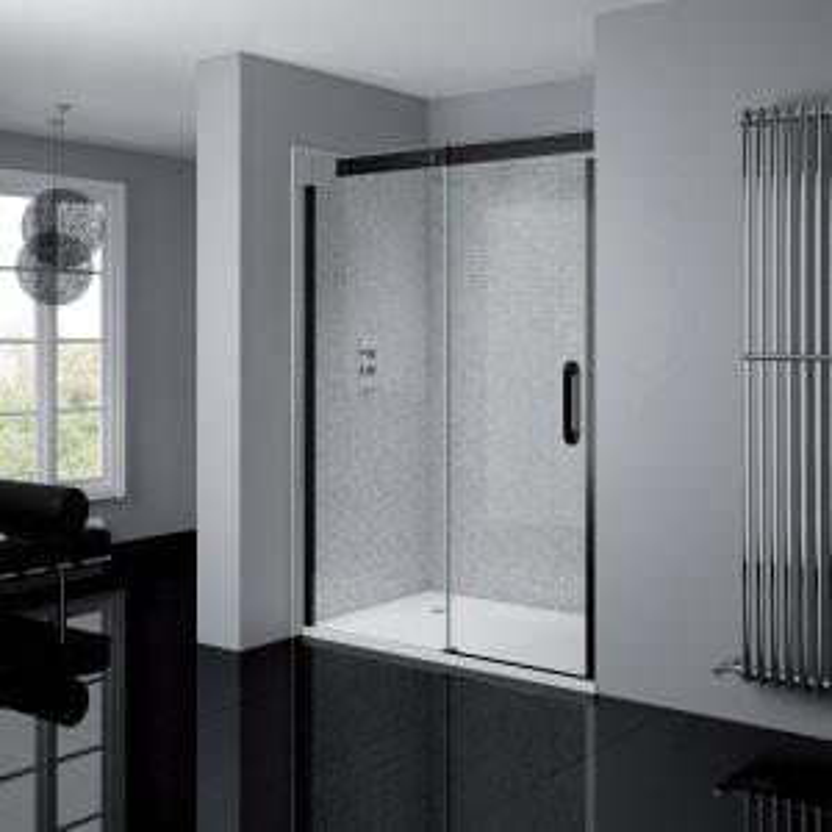 April Prestige2 Black Frameless Sliding Shower Door with Optional Side Panel