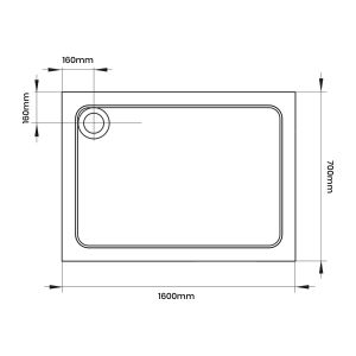 April Rectangular Anti Slip Shower Tray 1600 x 700 Line Drawing
