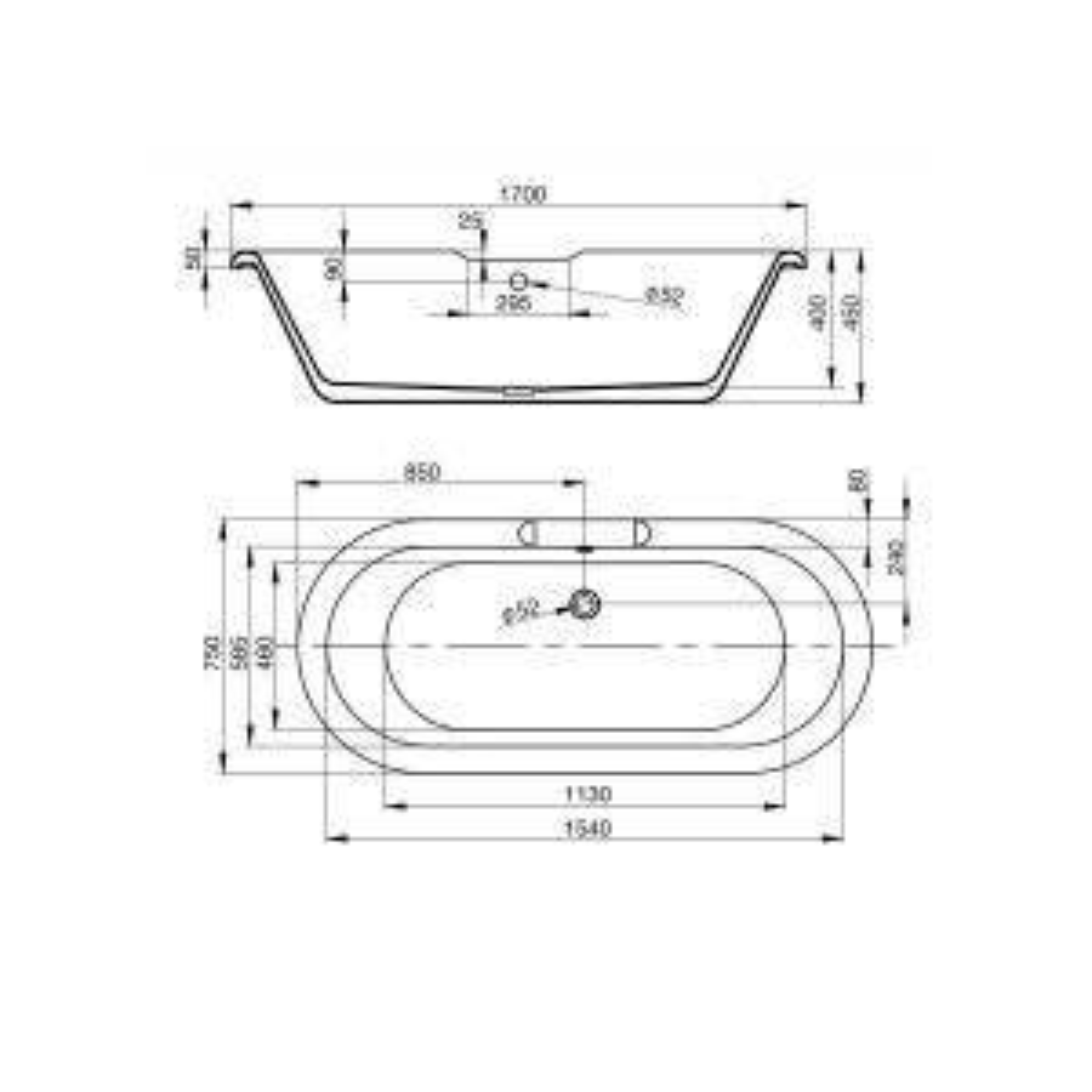 April Skipton Dove Grey Freestanding Bath Dimensions