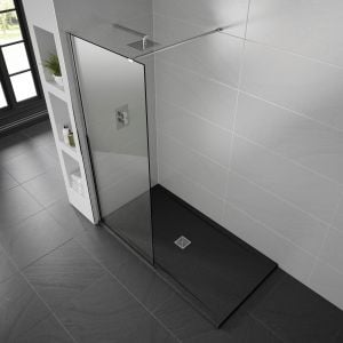 Aquadart Black Slate Shower Tray 1000 x 900 Lifestyle
