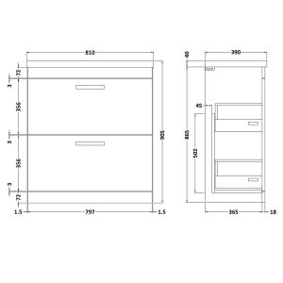 Nuie Athena Gloss Grey Mist 2 Drawer Floor Standing Vanity Unit 800mm Drawing
