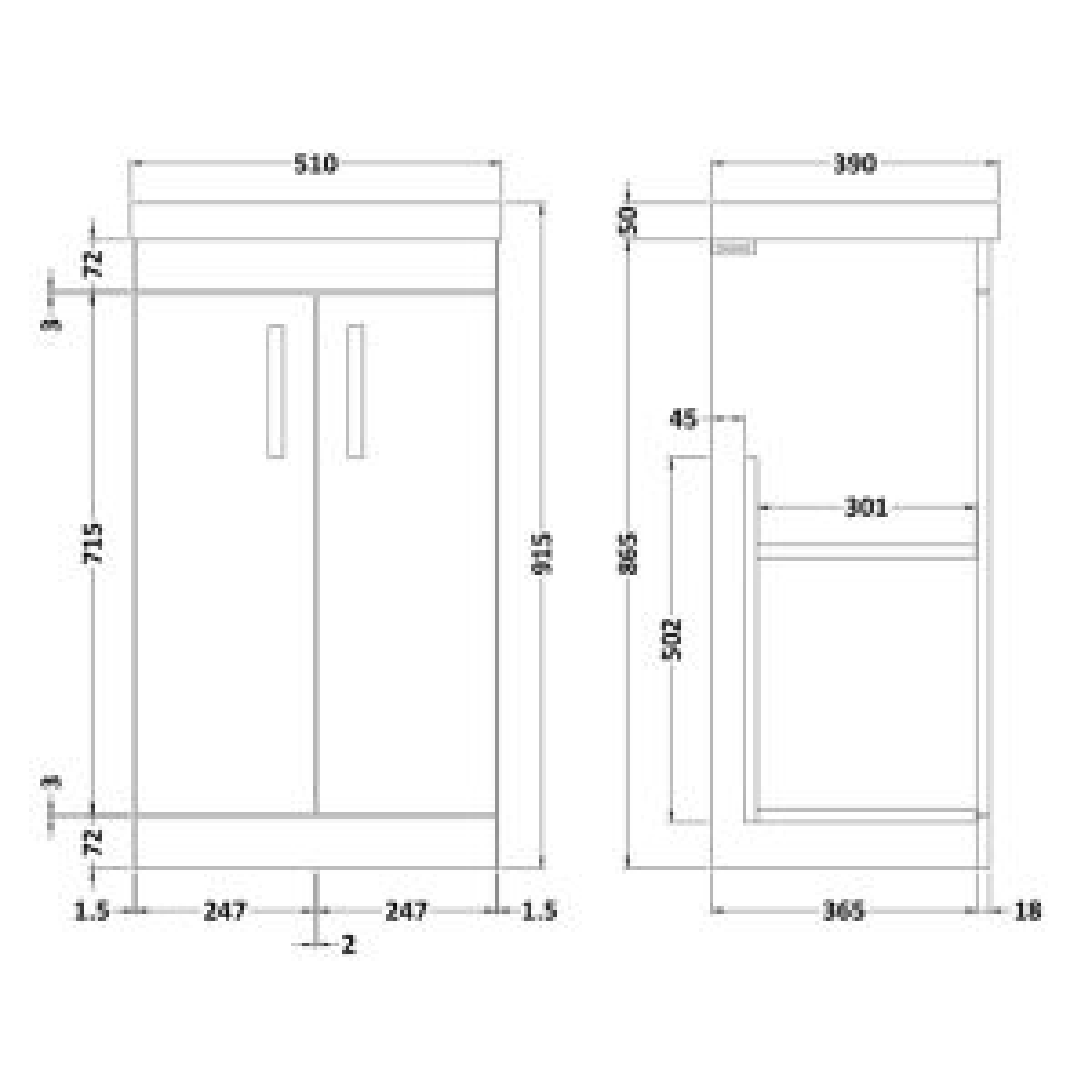 Thin-Edge Basin 500mm Dimension