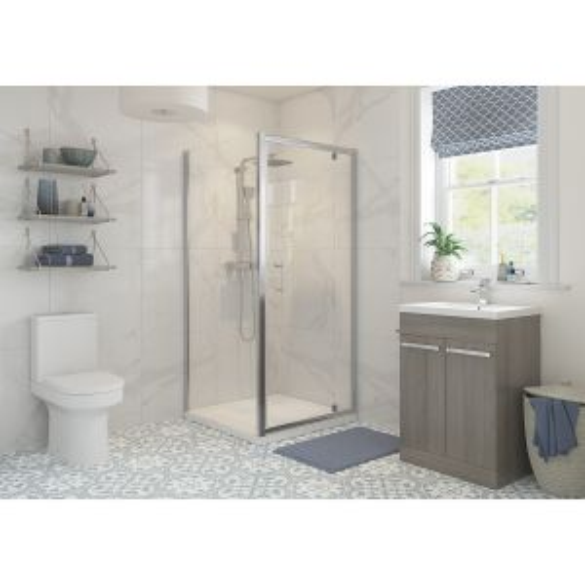Bathrooms To Love RefleXion Classix Pivot Shower Door with Optional Side Panel 1