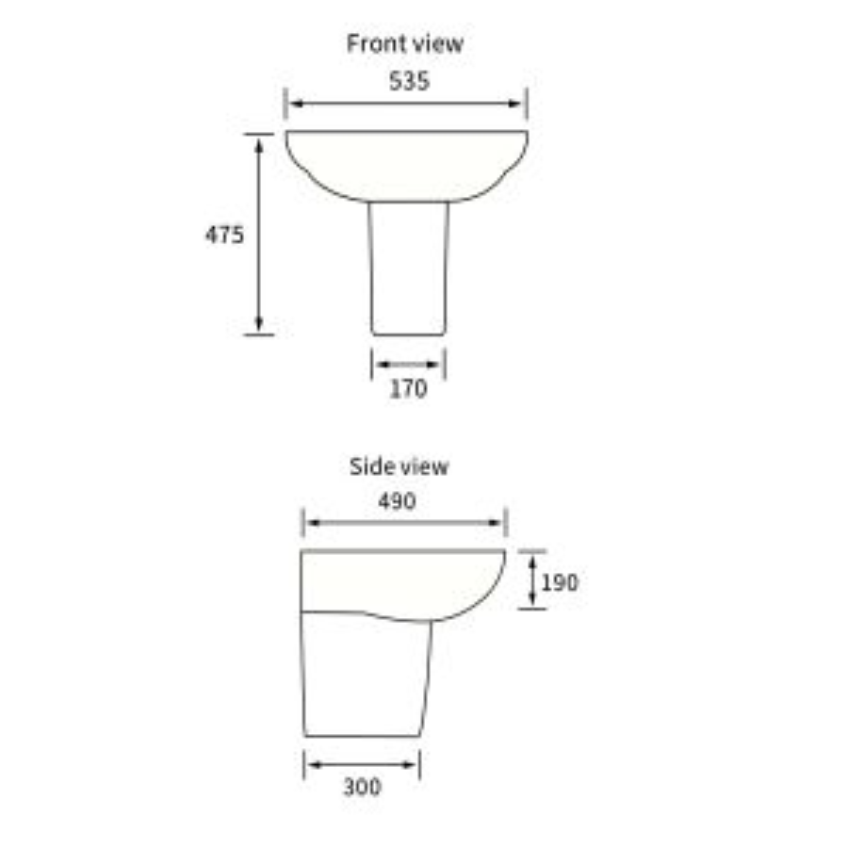BTL Mimosa 1 Tap Hole Basin with Semi Pedestal Line Drawing