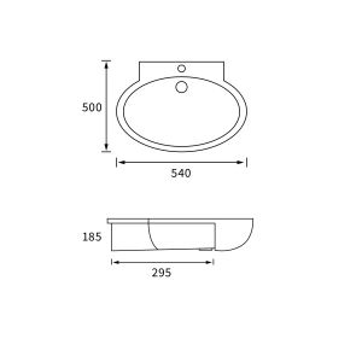 BTL Mimosa 1 Tap Hole Semi Recessed Basin Line Drawing
