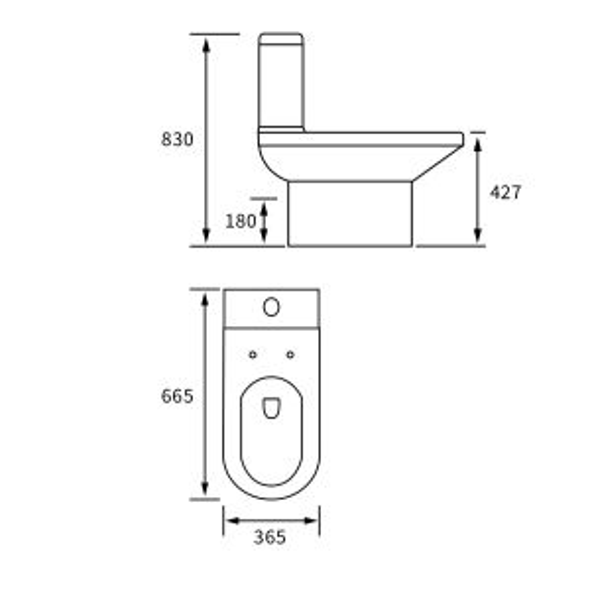 BTL White Laurus² Close Coupled Toilet Line Drawing
