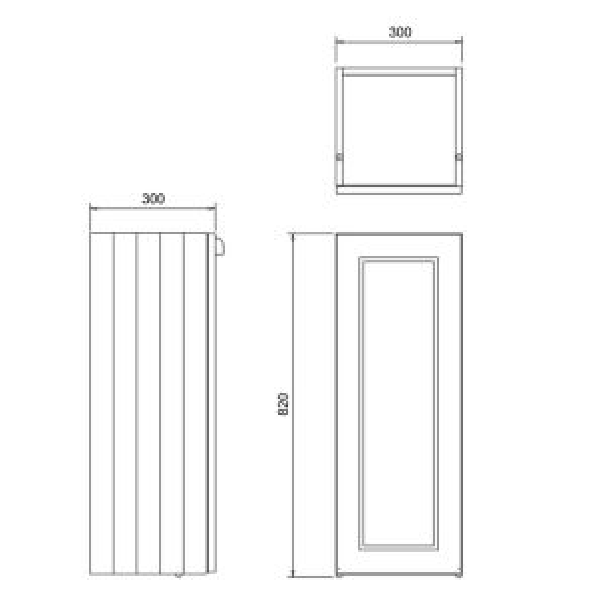 Burlington Classic Grey Single Door Base Unit 300mm Dimensions