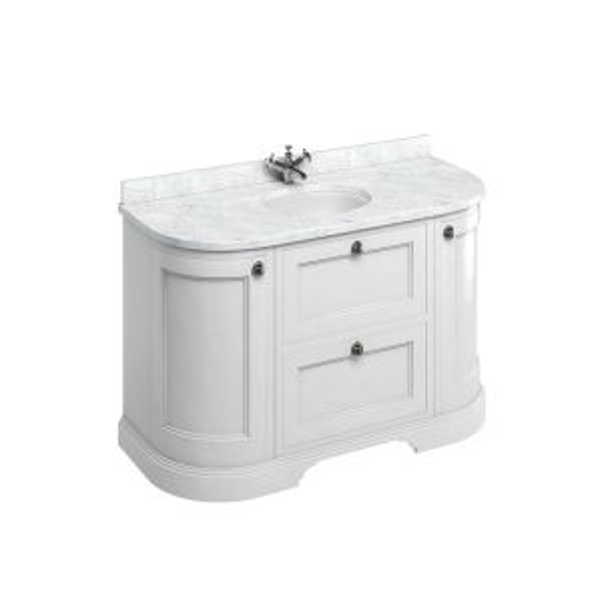 Burlington Matt White Freestanding Round Vanity Unit 1340mm Carrara White