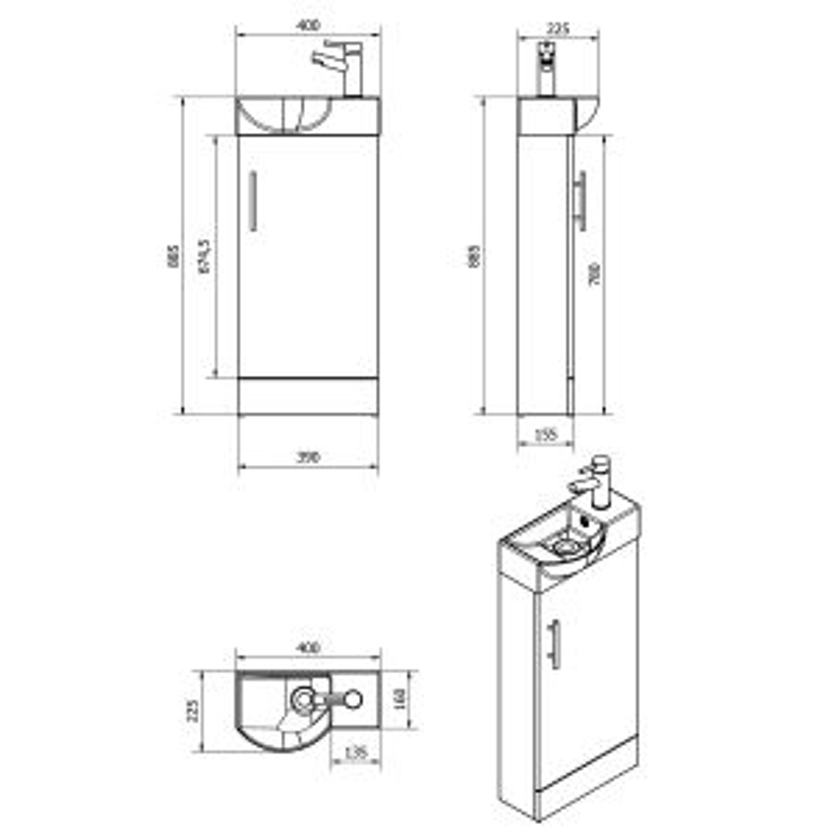 RAK Series 600 Back To Wall Toilet and 400 Series Medium Oak Mini Vanity Unit Drawing