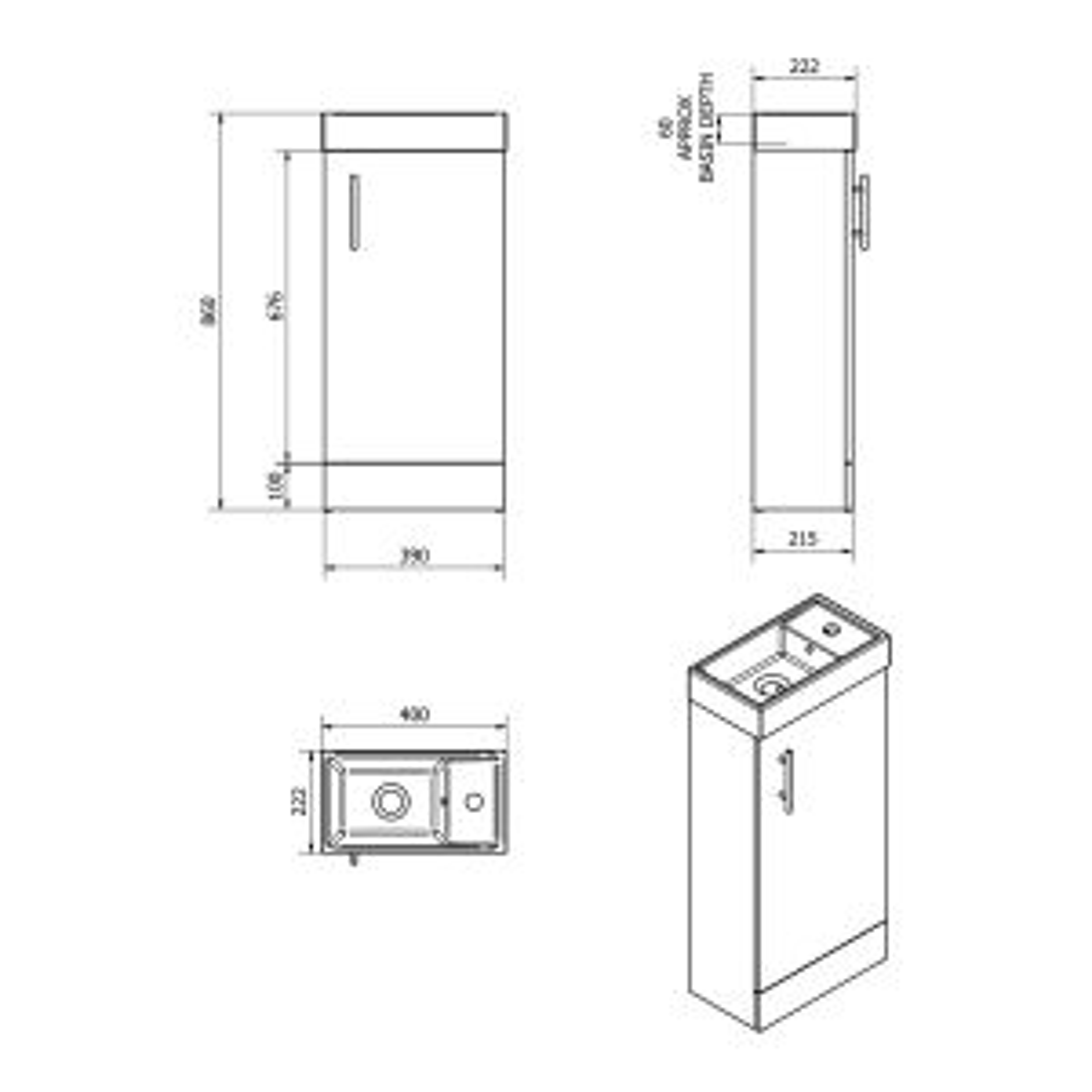 Cassellie 400 Series Walnut Single Door Vanity Unit Drawing