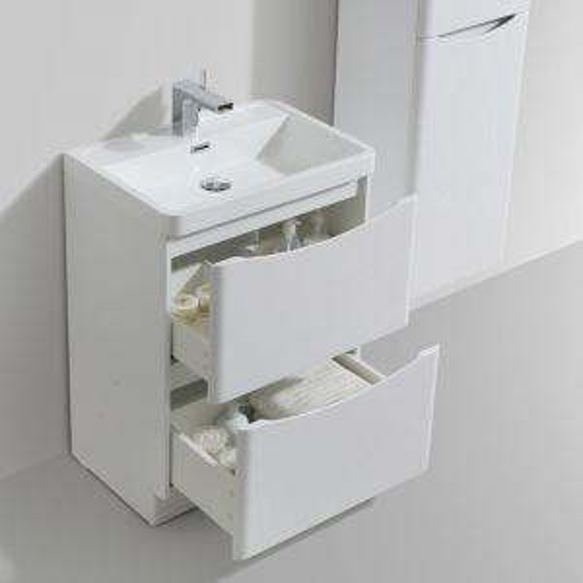 Bali Gloss White Floor Standing Vanity Unit 600mm Lifestyle