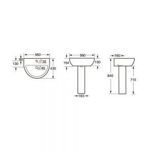 Cassellie Loxley 1 Tap Hole Basin with Full Pedestal Drawing