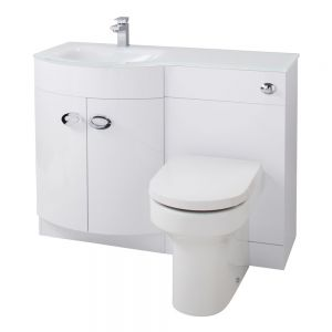 Cassellie Pebble Furniture Set with White Glass Basin Left Hand