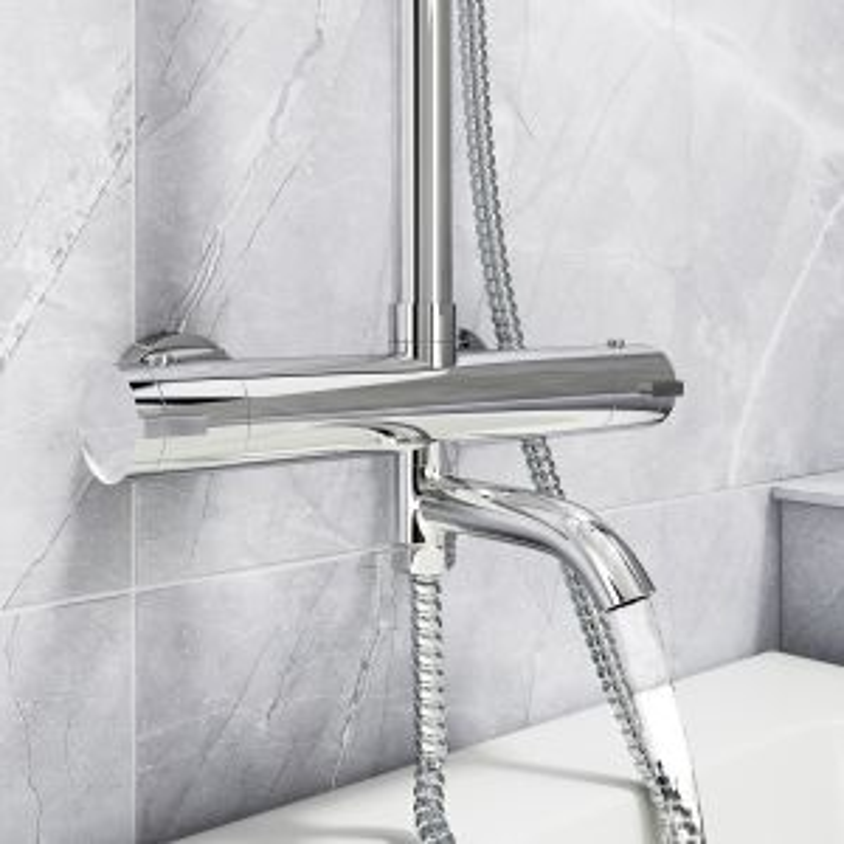 Cassellie Santana Thermostatic Bath Filler Shower Kit Spout