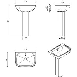 Cassellie Unison Pedestal and Basin Drawing