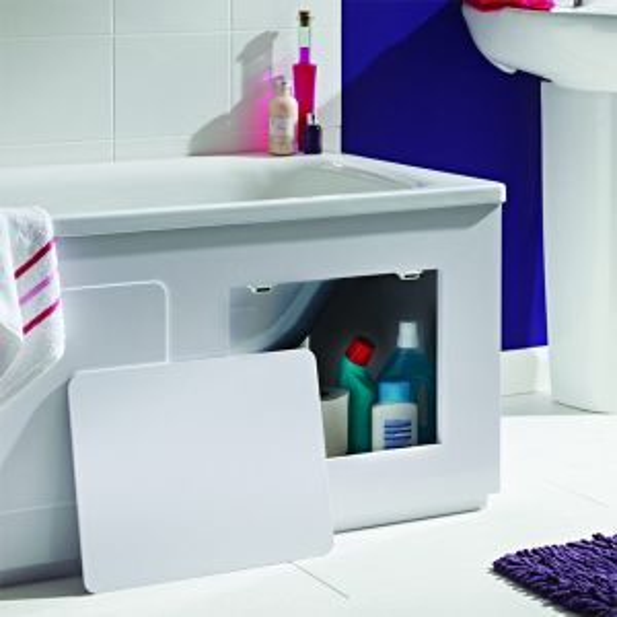 Croydex Gloss White Storage Bath Panel 1700mm