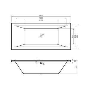 Nuie Asselby Square Double Ended Bath