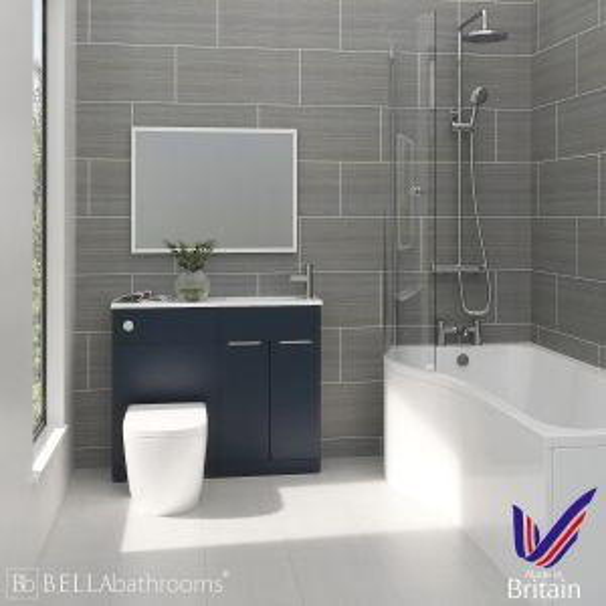 Elation Combination Indigo Matt Furniture Suite with Left Hand P Shape Shower Bath