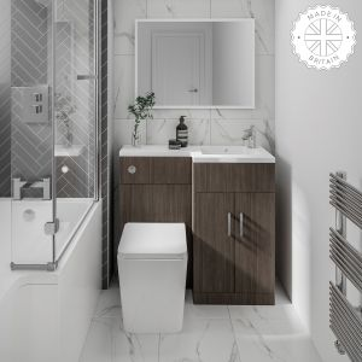 Elation Compact Combination L Shape Bodega Grey Furniture Pack 920mm