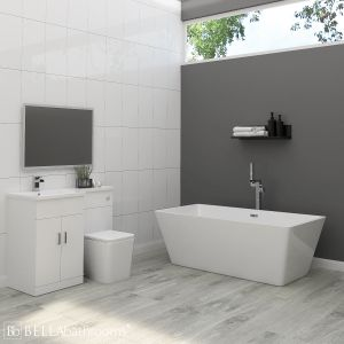 Elation Combination L Shape White Furniture Suite with Boston Freestanding Bath