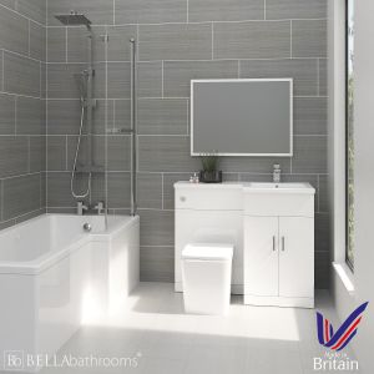 Elation Combination L Shape White Furniture Suite with Right Hand L Shape Shower Bath
