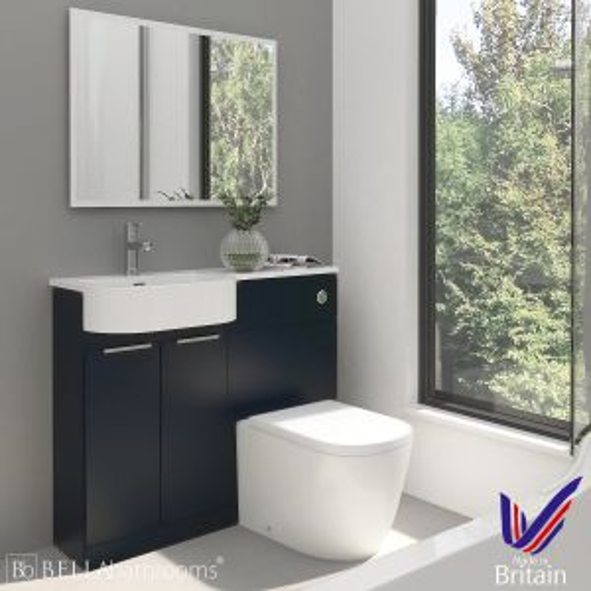 Elation Combination P Shape Indigo Matt Furniture Pack 1010mm Left Hand with Cayton Toilet