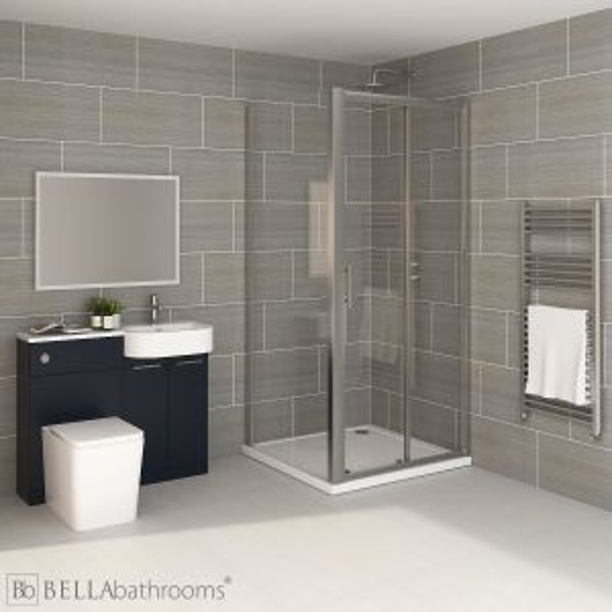 Elation Combination P Shape Indigo Matt Furniture Suite with April Destini Sliding Shower Enclosure with Brearton Toilet