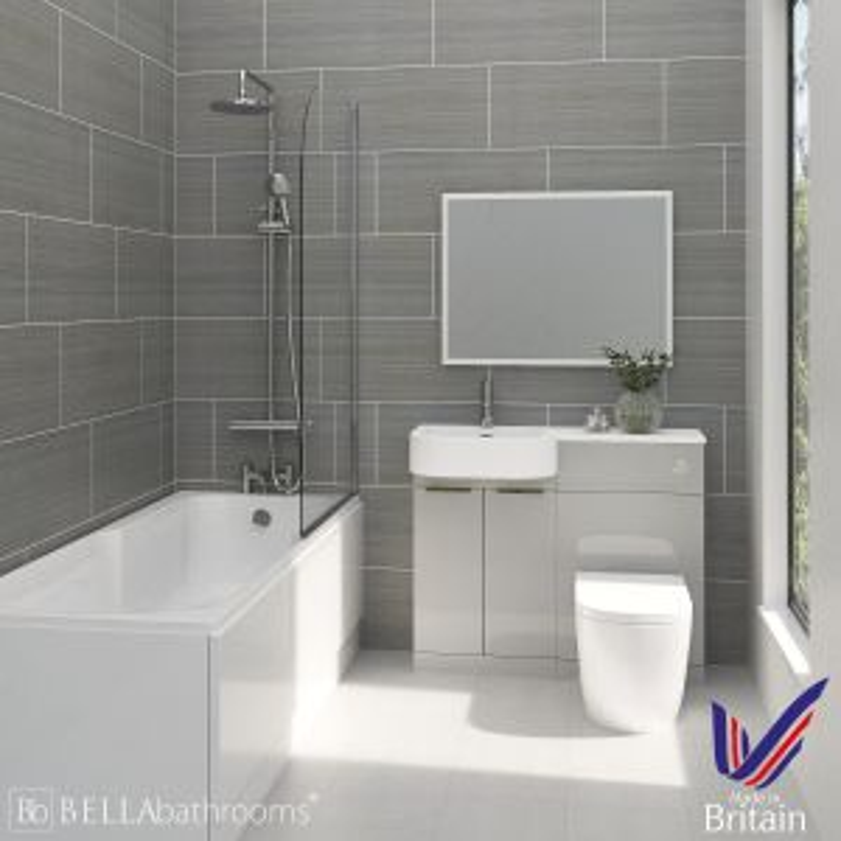 Elation Combination P Shape Pearl Grey Matt Furniture Suite with Nuie Linton Shower Bath Left Hand