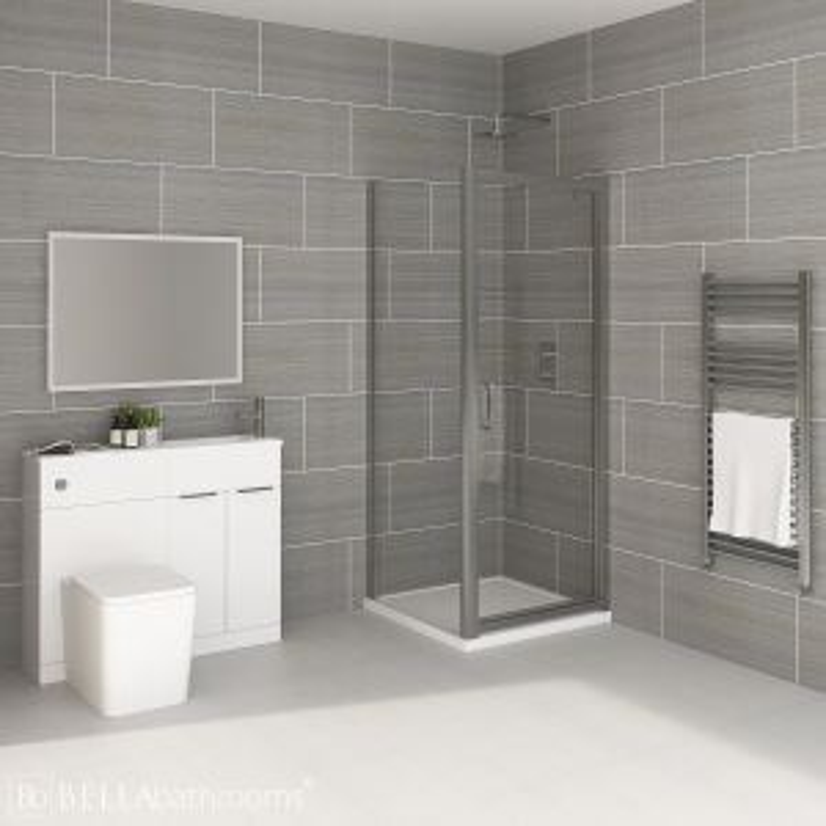 Elation Combination White Furniture Suite with April Destini Pivot Shower Enclosure with Brearton Toilet