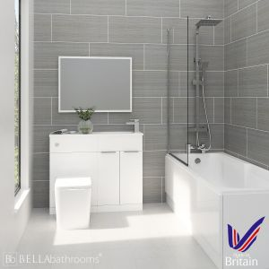 Elation Combination White Furniture Suite with Nuie Linton Shower Bath