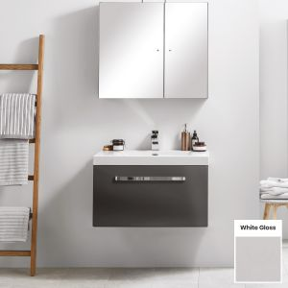 Elation Eko White Gloss Vanity Unit with Slab Drawer 750mm