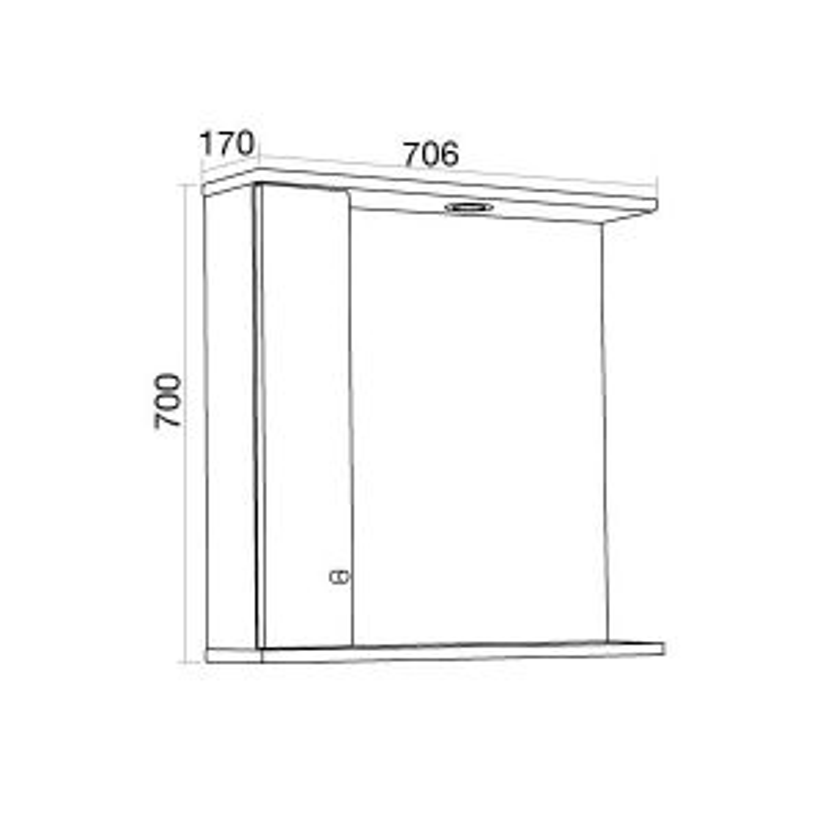 Elation Ikoma Bodega Grey Mirror Unit 750mm Dimensions