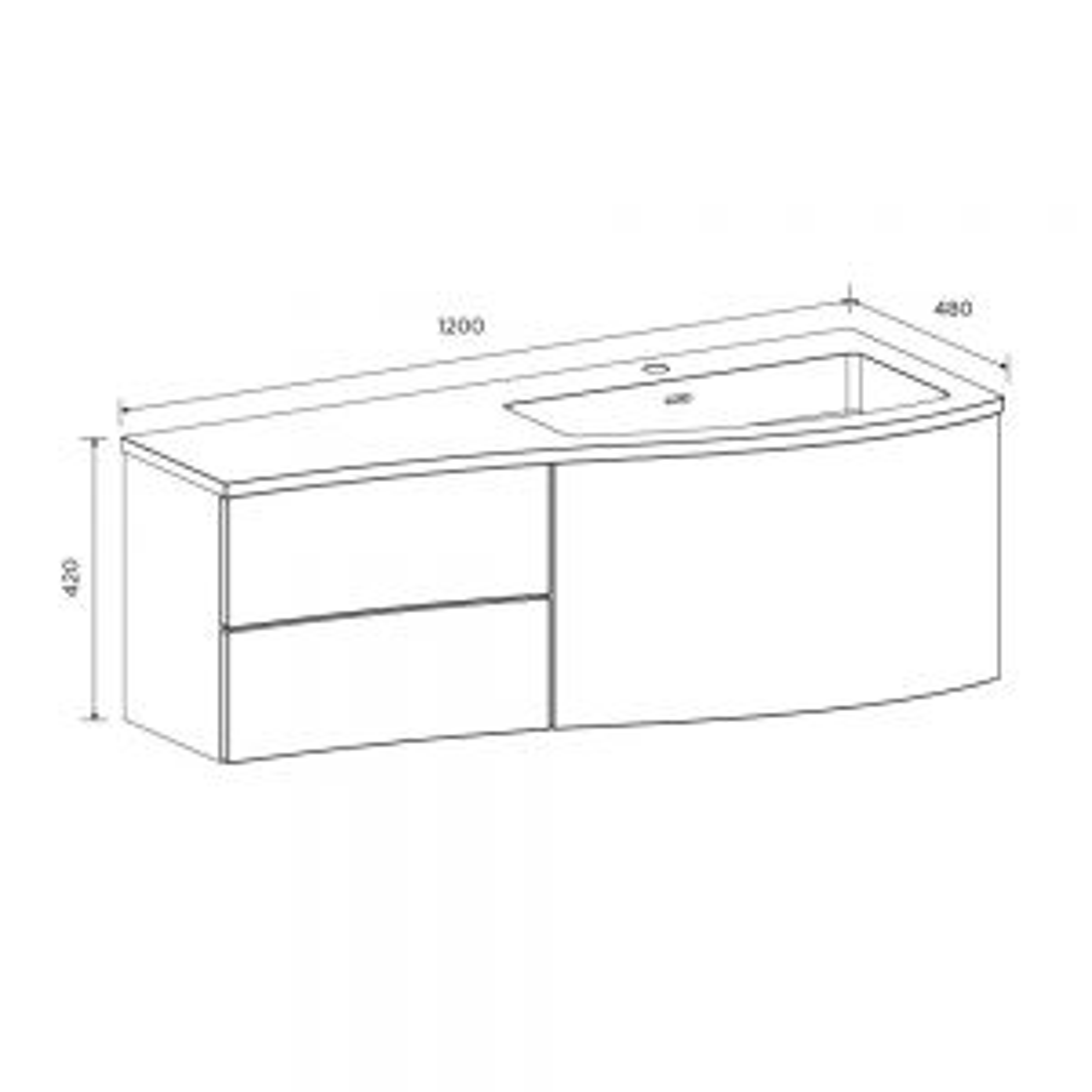 Elation Kiyo Bardolino Oak Vanity Unit 1200mm Right Handed Dimensions