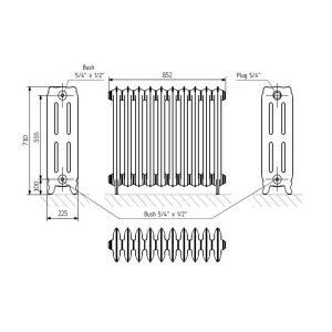 Front Line Holborn Oxford Cast Iron Radiator 710 x 852mm Line Drawing