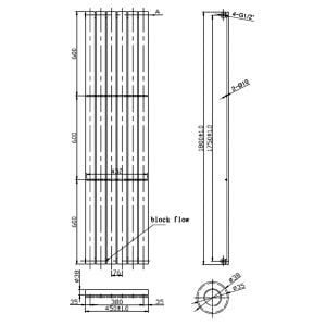 Front Line Zenith Chrome Vertical Radiator 1800mm x 450mm Line Drawing