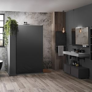 Frontline Aquaglass Mono Black Frosted Shower Screen