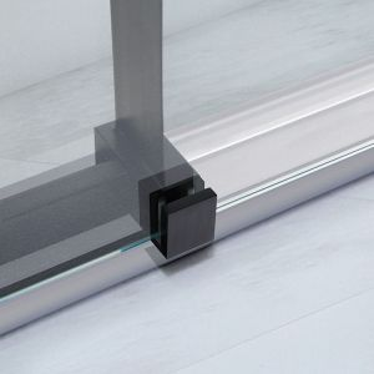 Frontline Aquaglass Onyx Black Sliding Shower Enclosure Roller