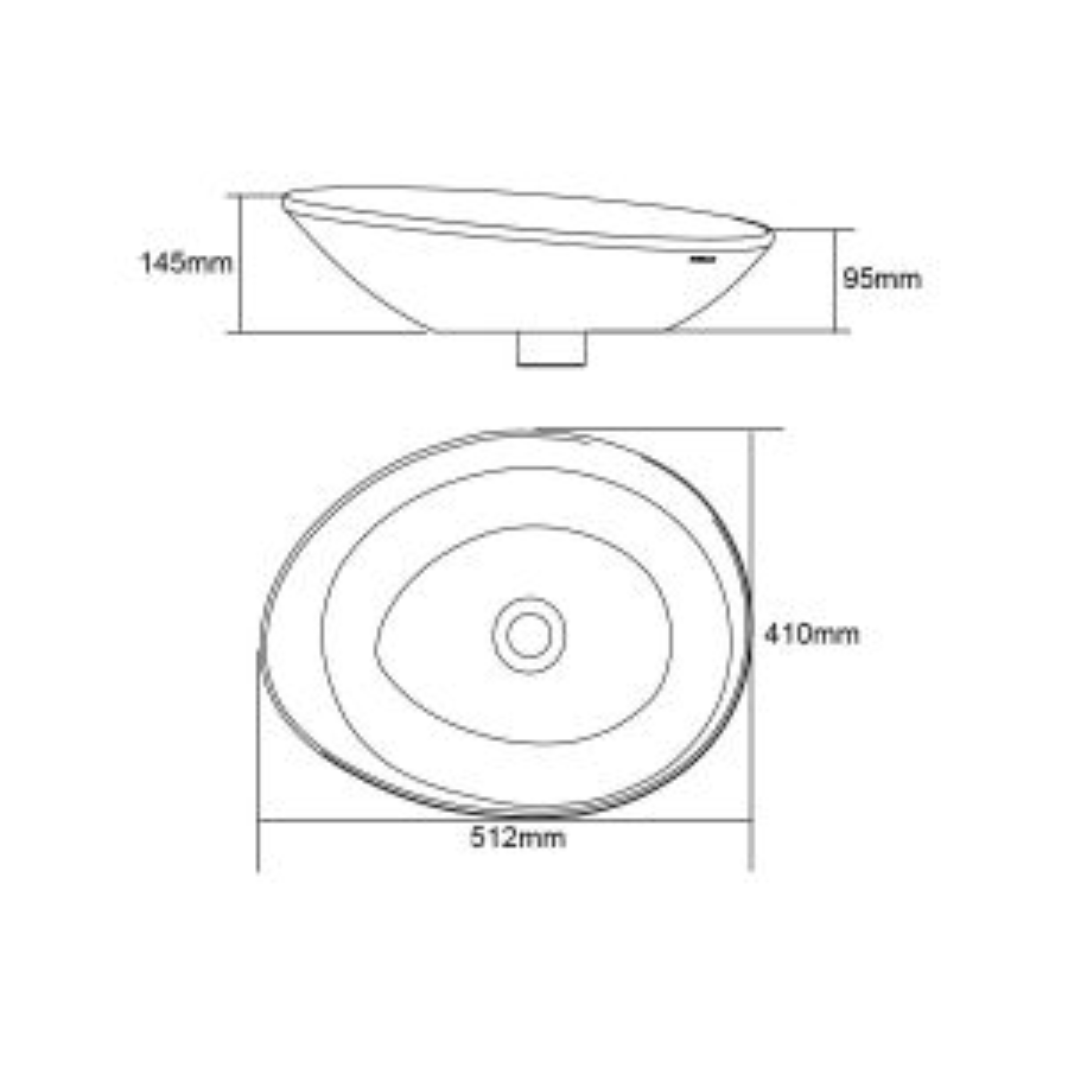 Frontline Galaxy Countertop Basin Drawing