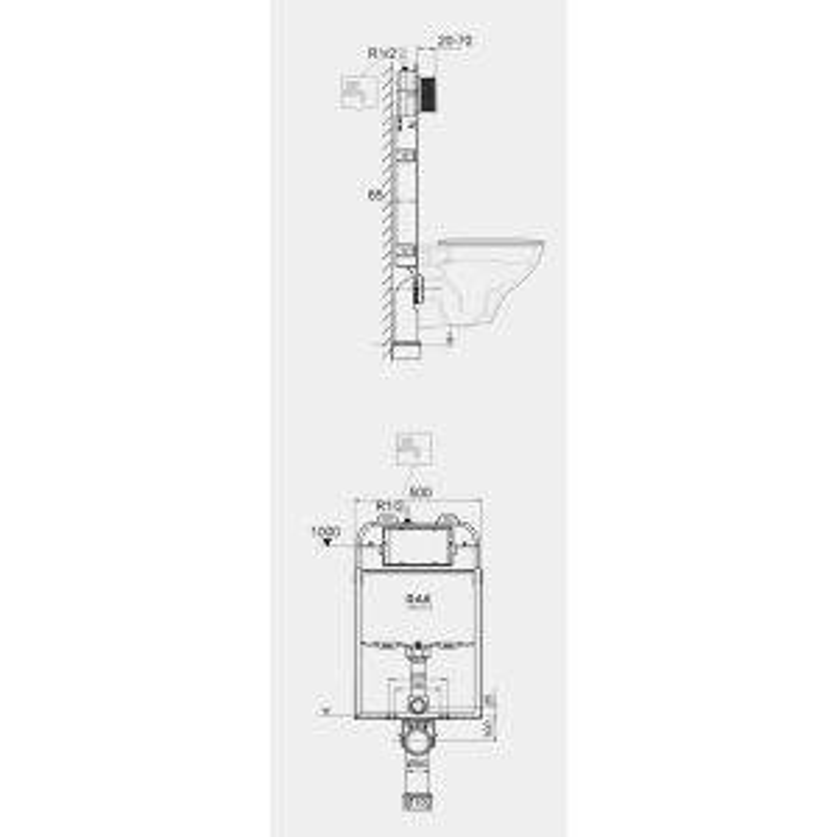 RAK Ecofix Slimline Concealed Cistern 500 x 1140mm Measurements