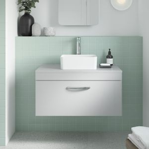 Nuie Athena Gloss Grey Mist 2 Door Wall Hung Vanity Unit 800mm Lifestyle