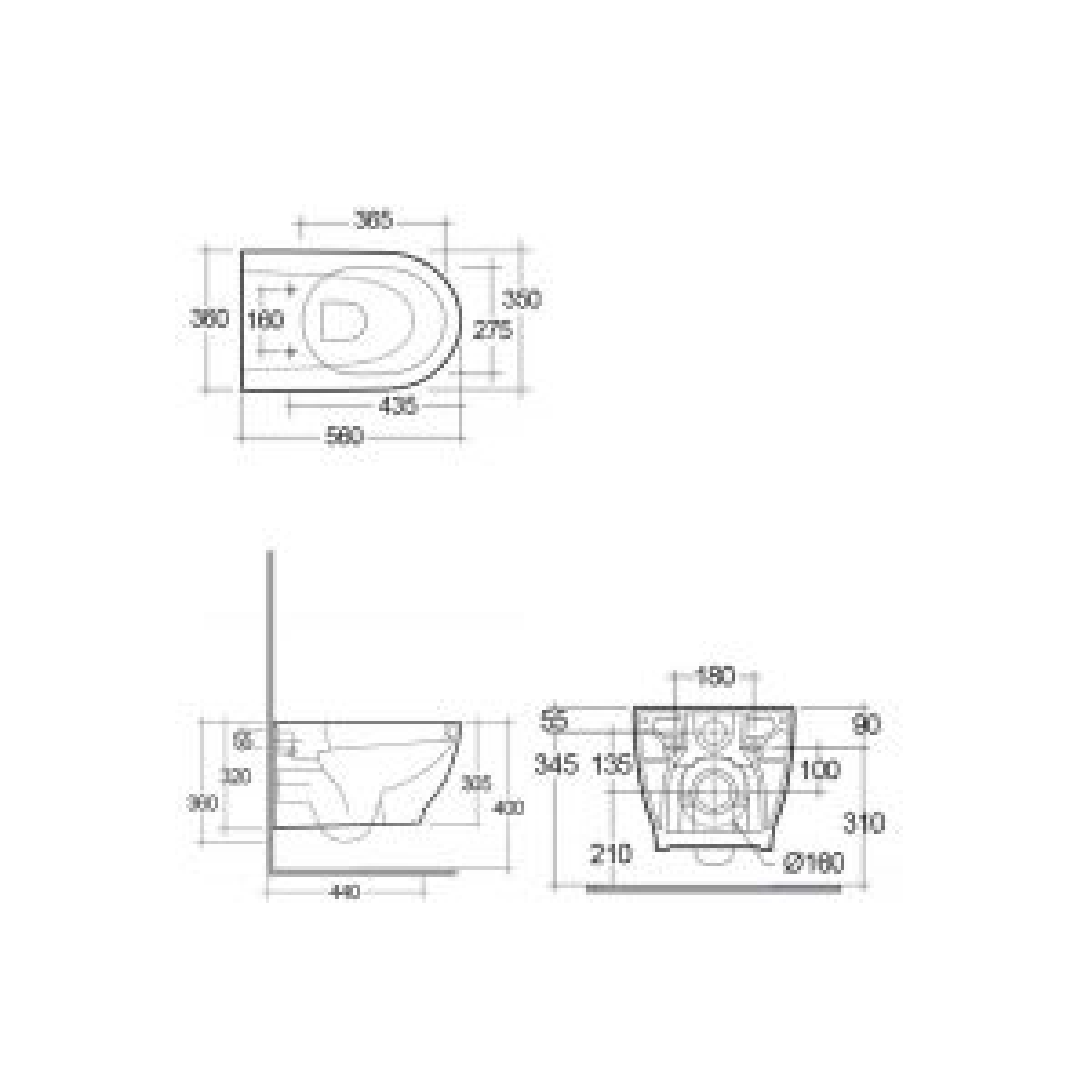 RAK Moon Wall Hung Hidden Fixation WC Pan with Soft Close Seat Measurements