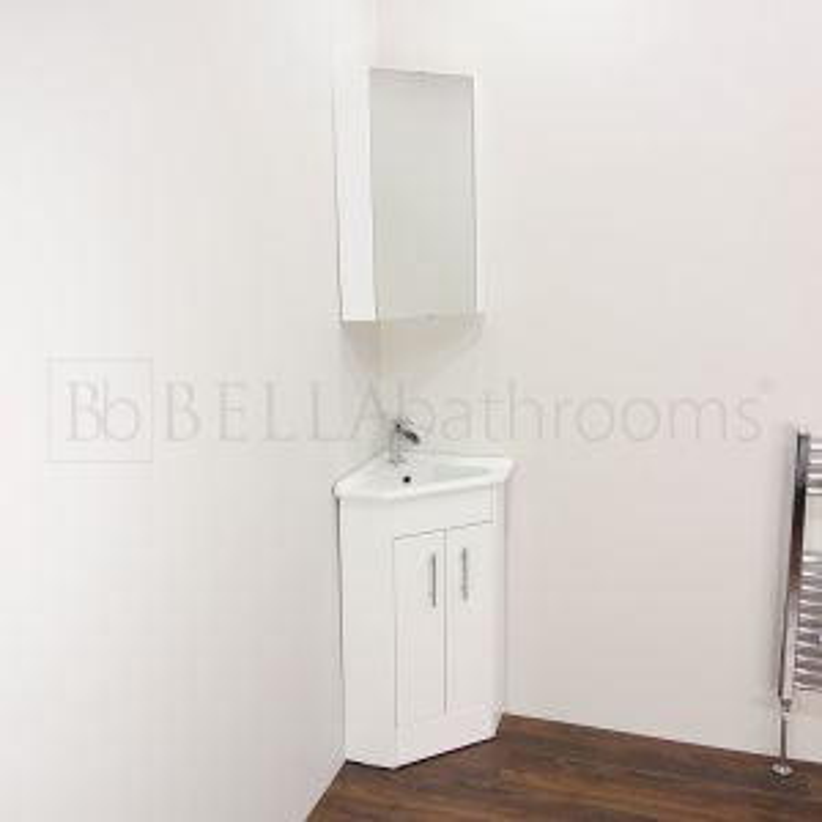 Nuie High Gloss White Double Door Corner Vanity Unit Lifestyle
