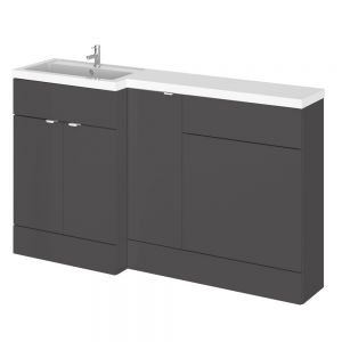 Hudson Reed Fusion Gloss Grey Full Depth Combo Furniture Pack 1500mm